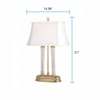 "spec-<PRE>Table Lamp Solid Brass Crystal Lamp 21""H </PRE>"