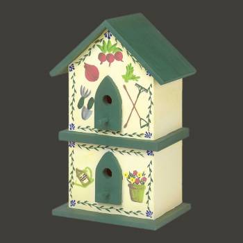 <PRE>Birdhouse Green/Yellow Handpainted Pine 18inchH </PRE>zoom2