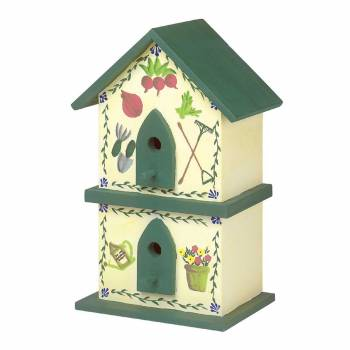 Birdhouse GreenYellow Handpainted Pine 18H Bird House Bird Houses Painted Bird House