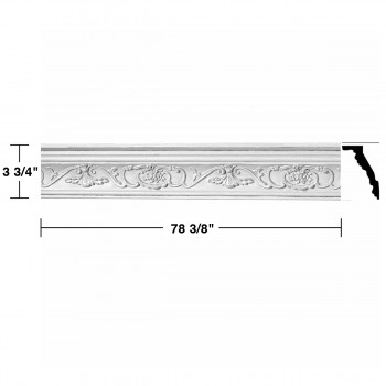 "spec-<PRE>Ornate Cornice White Urethane  78 3/8"" L  Vineyard </PRE>"