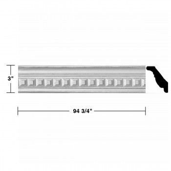"spec-<PRE>Ornate Cornice White Urethane  94 3/4"" L Amelia Ornate  </PRE>"