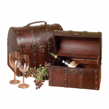 Treasure Chests Decoration Cherry Wood Set of 2 10530grid