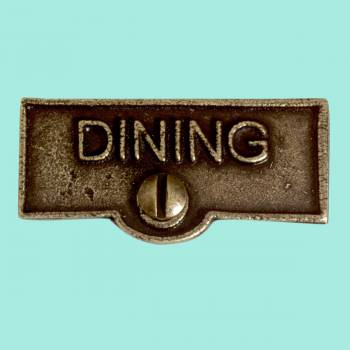 <PRE>Switch Plate Tags DINING Name Signs Labels Cast Brass </PRE>zoom2