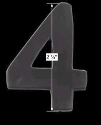 spec-<PRE>Black Solid Brass 2 1/4&quot; House Mailbox Number '4' Peel Stick </PRE>