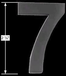 "spec-<PRE>Black Solid Brass 2 1/4"" House Mailbox Number '7' Peel Stick </PRE>"