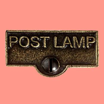 <PRE>Switch Plate Tags POST LAMP Name Signs Labels Cast Brass </PRE>zoom2