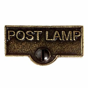 <PRE>Switch Plate Tags POST LAMP Name Signs Labels Cast Brass </PRE>zoom1
