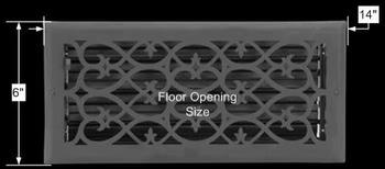 spec-<PRE>Floor Heat Register Louver Vent Steel 5 3/4 x 13 3/4 Duct  </PRE>