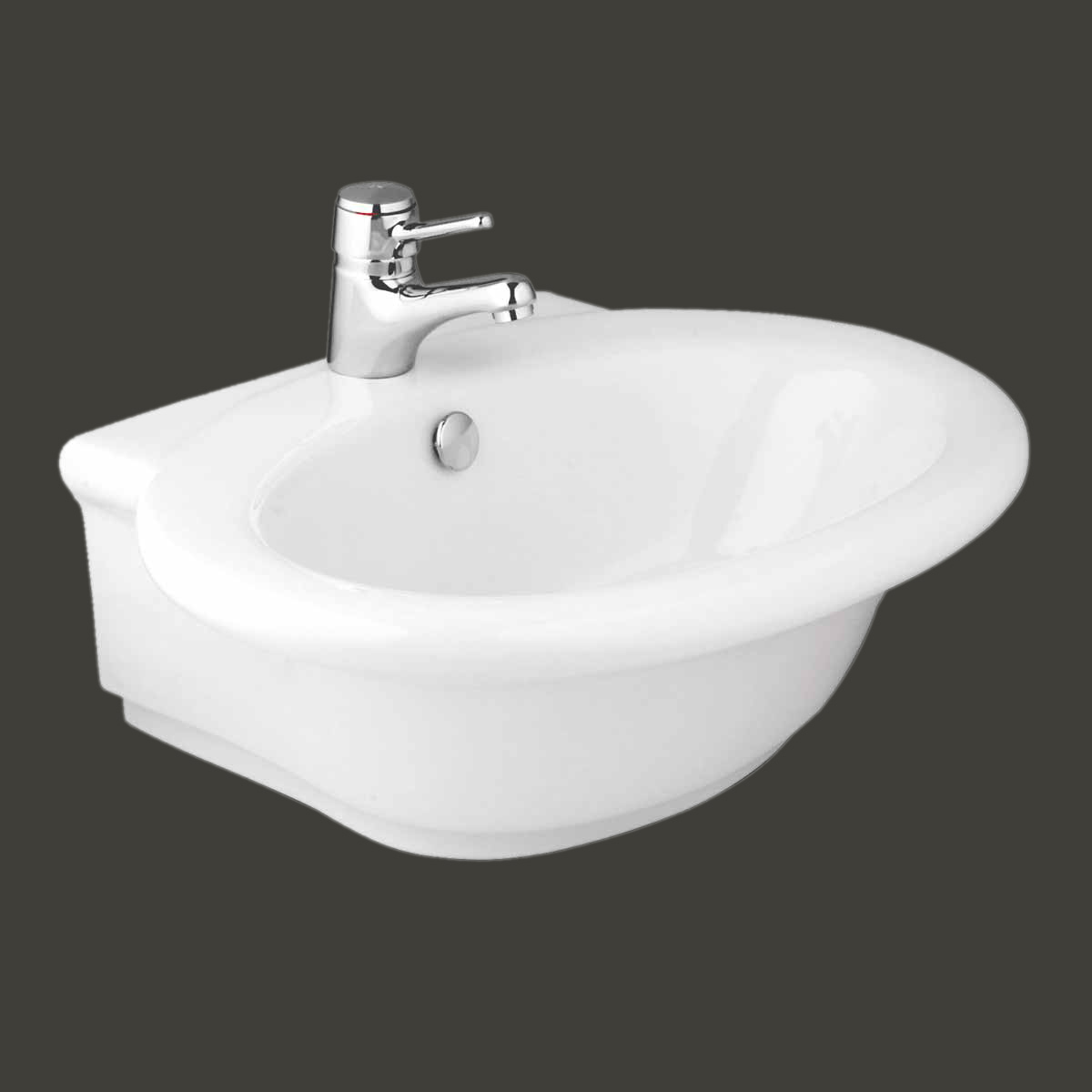 White Bathroom Vessel Sink Vitreous China Single Hole Faucet Gloss ...