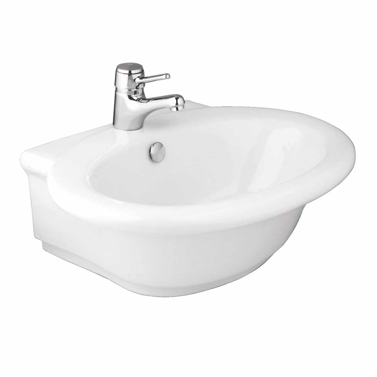 White Bathroom Vessel Sink Vitreous China Single Hole Faucet Gloss ...