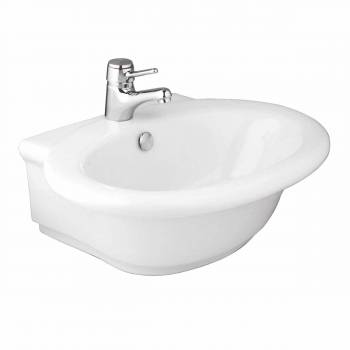 White Bathroom Vessel Sink Vitreous China Single Hole Faucet Gloss Finish 10633grid