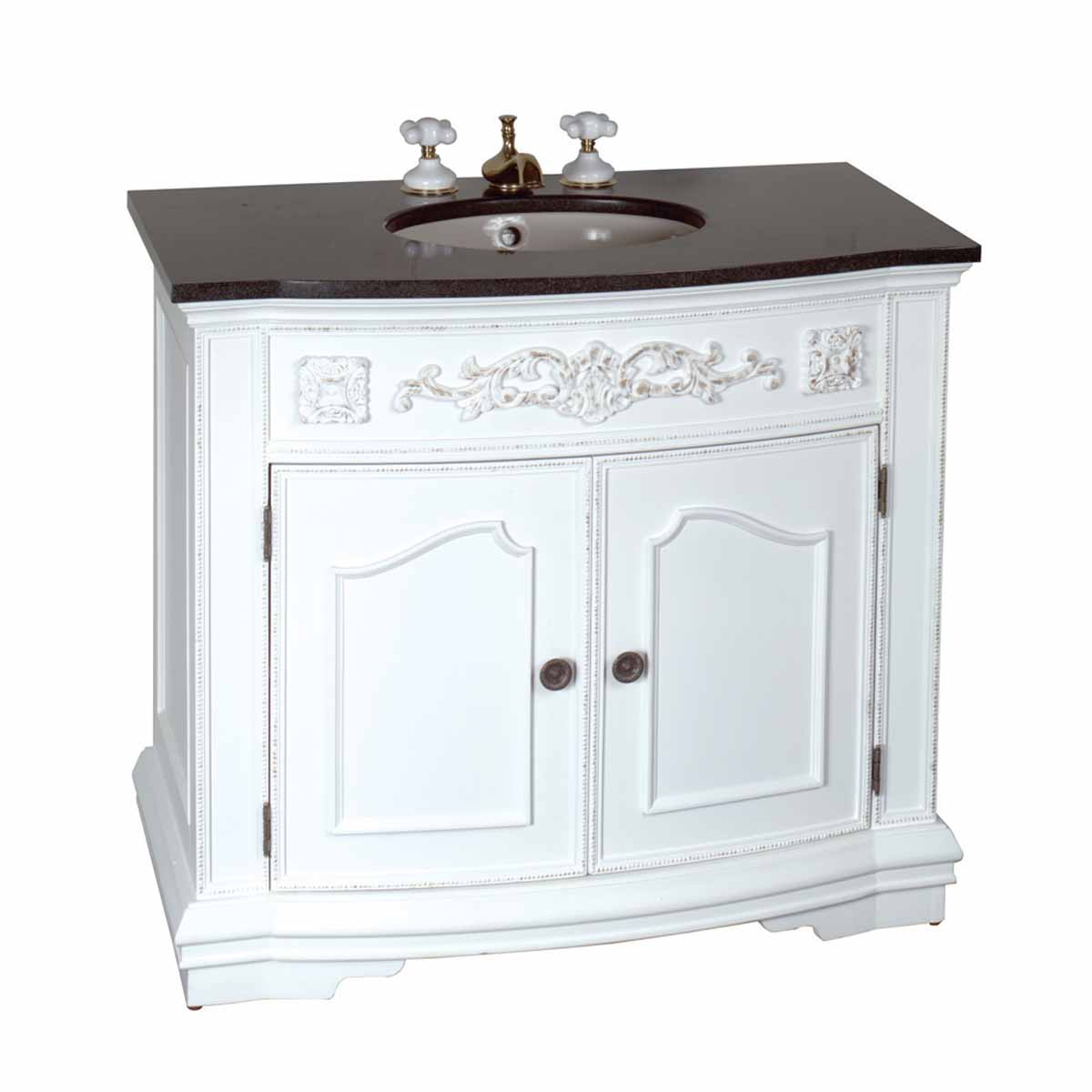 37 inch Bathroom Vanity Sink and Cabinet Marble Top