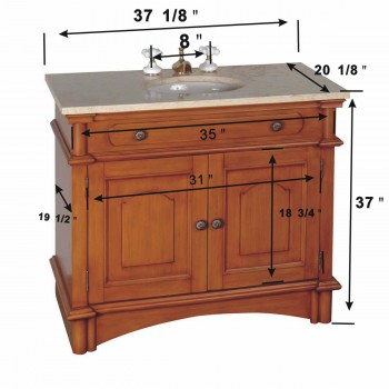 "spec-<PRE> Bathroom Vanity Sink Antique Rustic Design with Marble Travertine Countertop Honey Maple Finish 37 1/8"" Wide, 37"" Height, 20 1/8"" Projection</PRE>"