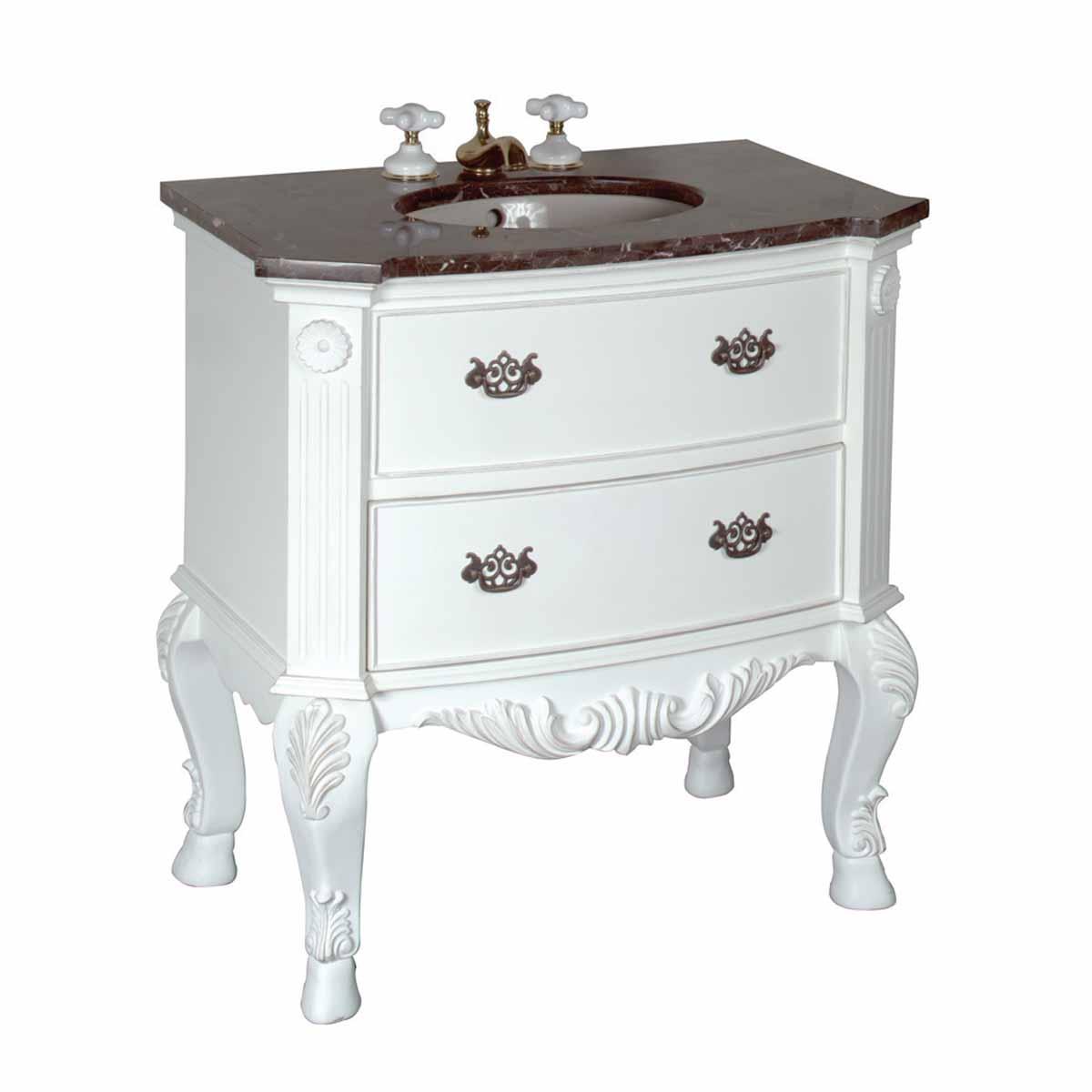 32 inch Bathroom Vanity Marble Sink Black Travertine ...