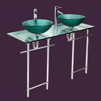 Echo Dual Console Glass Sink and Counter Top Stainless Steel Legs Green - Console Sinks, console sink info & unique accessories, quantity discounts on Console Sinks, pedestal sinks, bathroom fixtures, bathroom sinks, sink faucets & free shipping by Renovator's Supply.