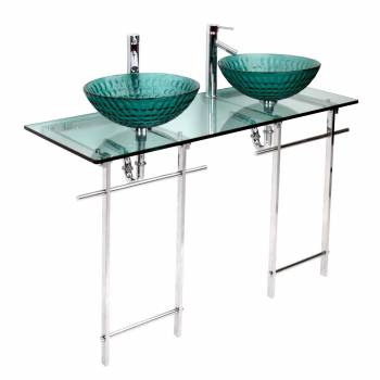 Double Glass Console Sink Deluxe Bathroom Combo Chrome  10648grid