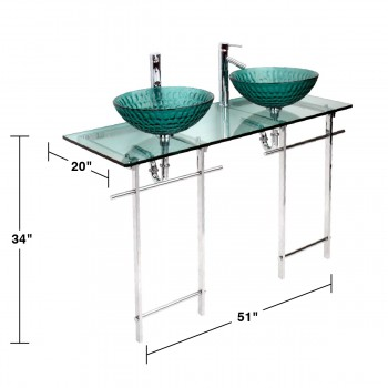 spec-<PRE>Double Glass Console Sink Deluxe Bathroom Combo Chrome  </PRE>
