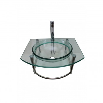 <PRE>Glass Wall Mount Sink With Stainless Steel Towel Bar, Faucet and Drain</PRE>zoom2