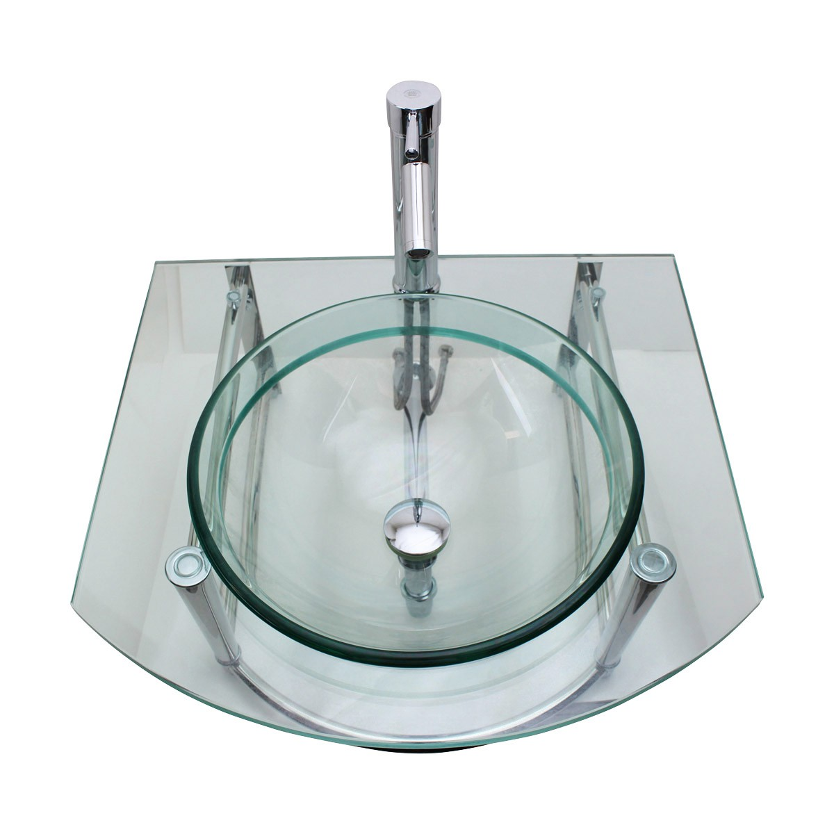 Exceptionnel ... U003cPREu003eBathroom Glass Wall Mount Vessel Sink Stainless Steel Bar Faucet  And Drainu003c ...