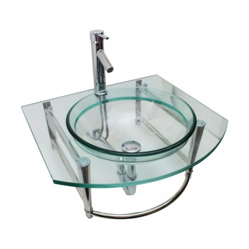 <PRE>Bathroom Glass Wall Mount Vessel Sink Stainless Steel Bar Faucet and Drain</PRE>zoom3
