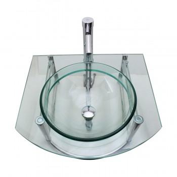 <PRE>Bathroom Glass Wall Mount Vessel Sink Stainless Steel Bar Faucet and Drain</PRE>zoom10