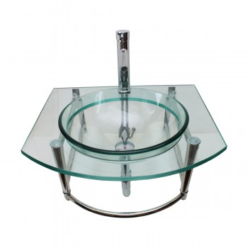 <PRE>Glass Wall Mount Sink With Stainless Steel Towel Bar, Faucet and Drain</PRE>zoom1