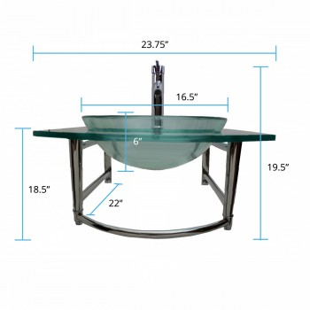 spec-<PRE>Bathroom Glass Wall Mount Vessel Sink Stainless Steel Bar Faucet and Drain</PRE>