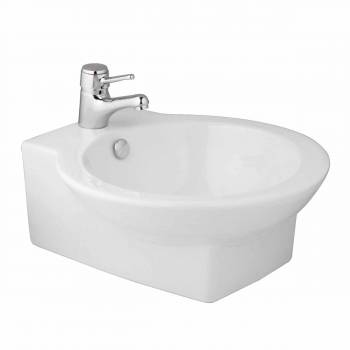 White Porcelain Ceramic Bathroom Round Vessel Sink Above Counter Gloss Finish10662grid