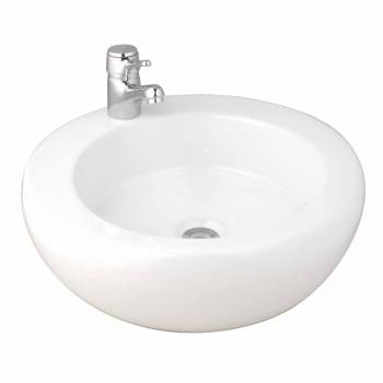 Bathroom Vessel Sink Round White Vitreous China Countertop10685grid