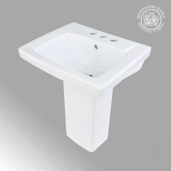 <PRE>Renovator's Supply Child White Bathroom Pedestal Sink Centerset Faucet Holes</PRE>zoom2