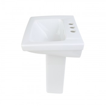 <PRE>Renovator's Supply Child White Bathroom Pedestal Sink Centerset Faucet Holes</PRE>zoom4