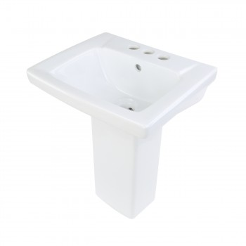 Renovator's Supply Child White Bathroom Pedestal Sink Centerset Faucet Holes10686grid