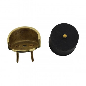 Round Brass and Rubber Door Bumper Floor/Wall Mount10721grid