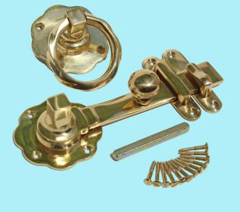 <PRE>Gate Latch Solid Brass Classic Knob Set with Pull </PRE>zoom2