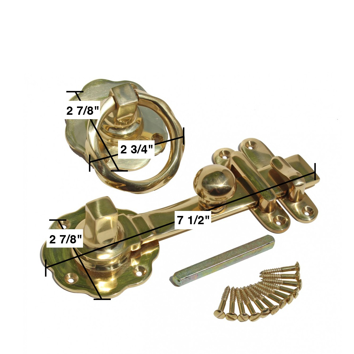 <PRE>Gate Latch Solid Brass Classic Knob Set with Pull </PRE>