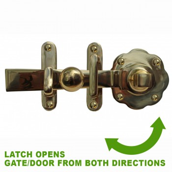 spec-<PRE>Gate Latch Solid Brass Classic Knob Set with Pull </PRE>
