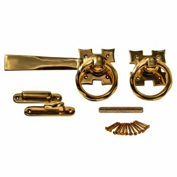 Gate Latch Set Solid Brass Ring Twist 5 1/8