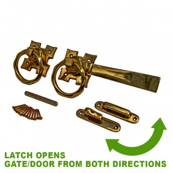spec-<PRE>Solid Brass 7 in. Long Ring Twist Latch w/Pull</PRE>
