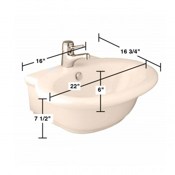 spec-<PRE>Bathroom Vessel Sink Bone China Faucet Hole </PRE>