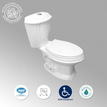 Toilets - Sheffield Deluxe Two-piece Dual Flush Toilet White Elongated by the Renovator's Supply