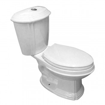Dual Flush Toilet White Porcelain Elongated Two-Piece Bathroom Toilet10783grid