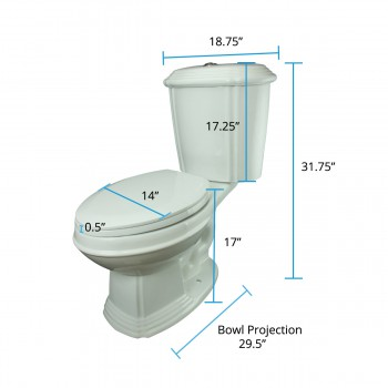 spec-<PRE>Dual Flush Toilet White Porcelain Elongated Two-Piece Toilet</PRE>