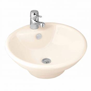 Bathroom Vessel Sink Biscuit Porcelain Faucet Hole 10784grid