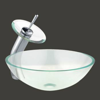Havasu - Clear Glass Vessel Sink - Round with Faucet - Vessel Sinks by Renovator's Supply.