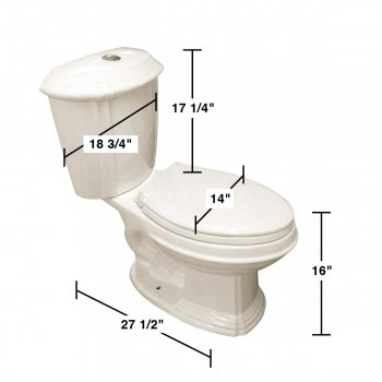 spec-<PRE>Sheffield 2-Piece 0.8 GPF/1.6 GPF WaterSense Dual Flush Elongated Toilet in Biscuit Finish with Slow Close Seat</PRE>