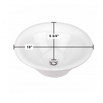 "spec-<PRE>Bristol 18"" Round Countertop Vessel Bathroom Sink White  </PRE>"