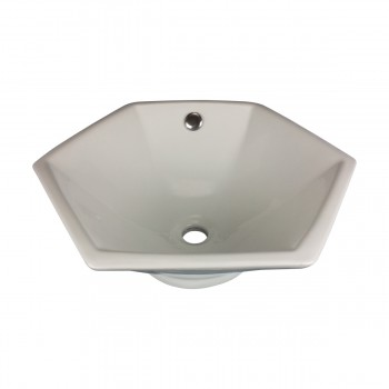 Bathroom Vessel Sink White China Porcelain Hexagon 10811grid