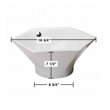 spec-<PRE>Bathroom Vessel Sink White China Porcelain Hexagon </PRE>