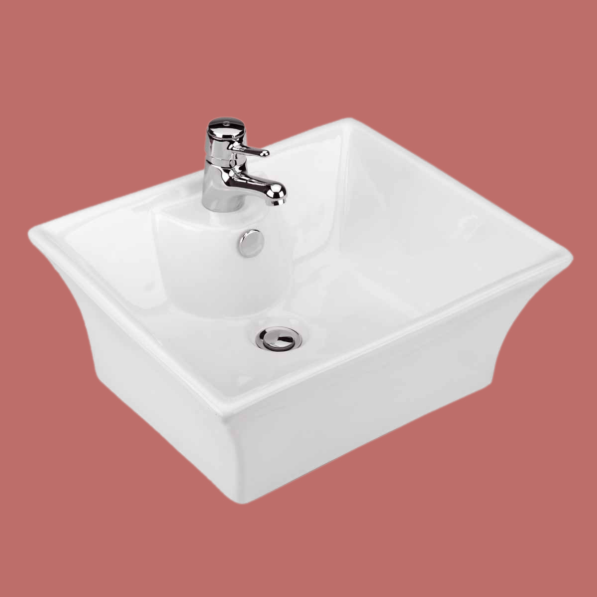 Bathroom Vessel Sink White China Newcastle Square Faucet Hole