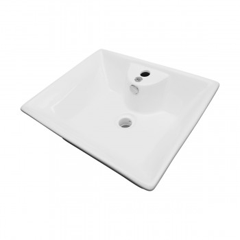<PRE>White Bathroom Vessel Basin Sink Bowl Above Counter Square with Overflow </PRE>zoom4